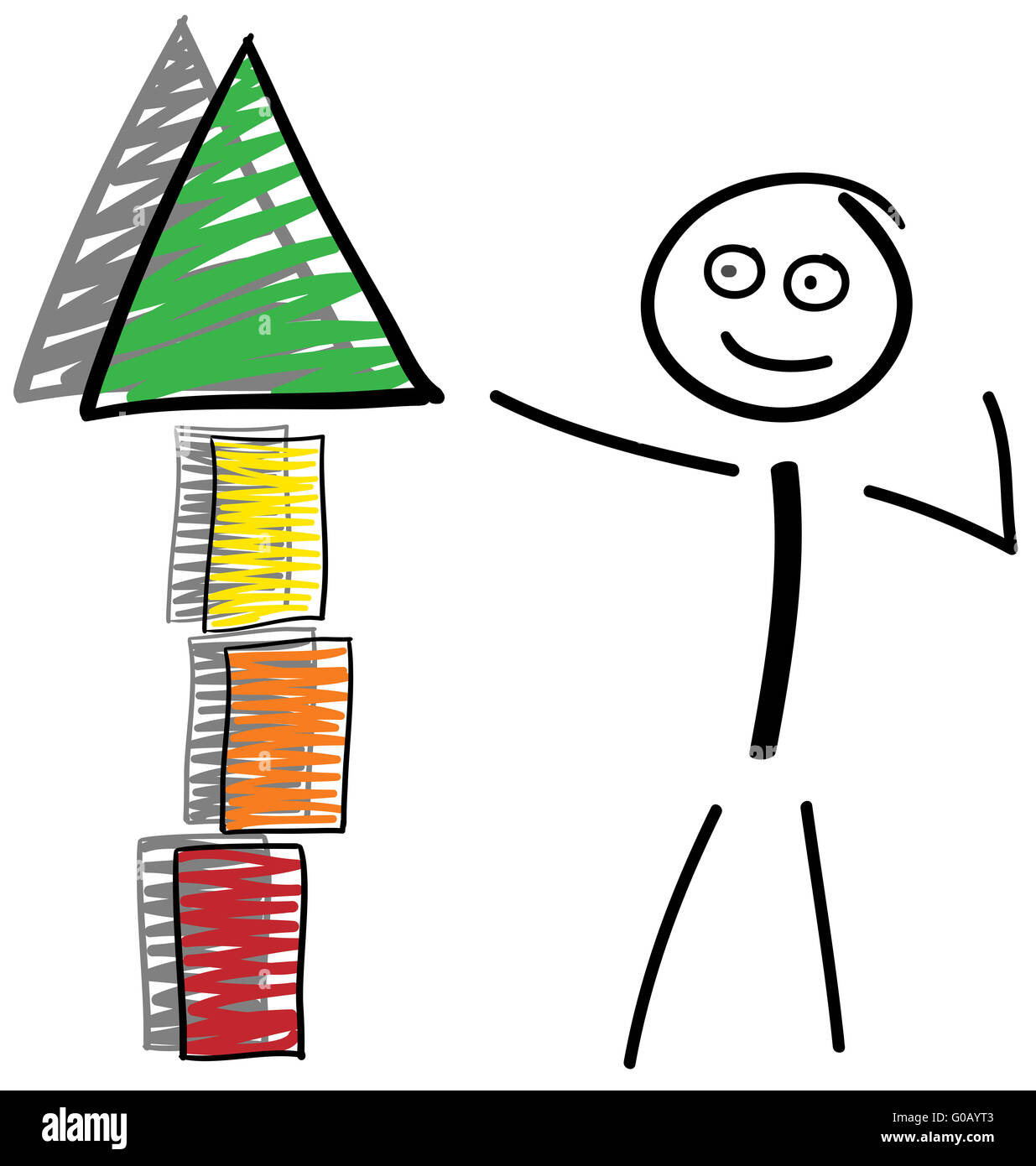 Stick figures with building block tower and shadow Stock Photo