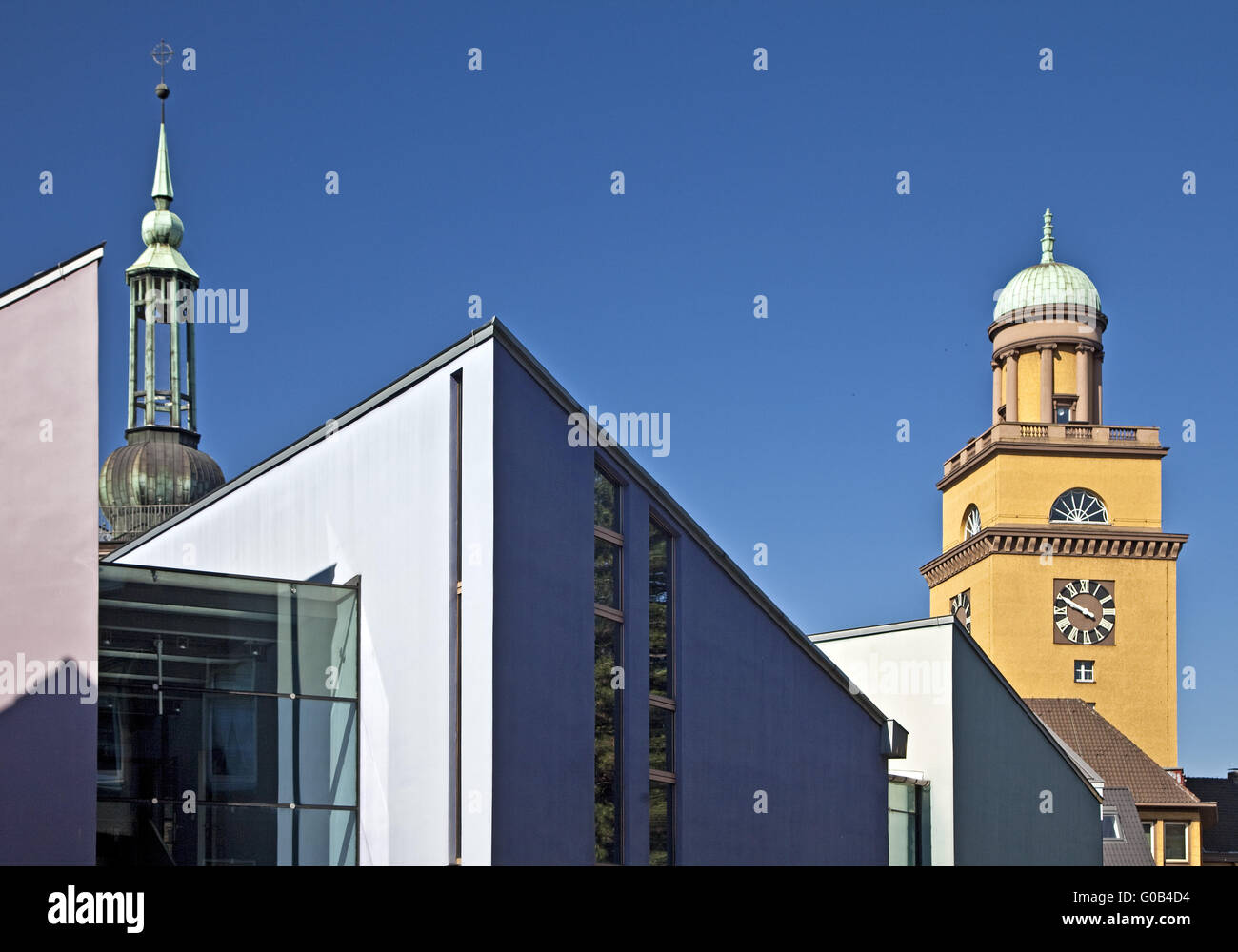 Steeple St. John's Church and Town Hall Tower - Stock Image