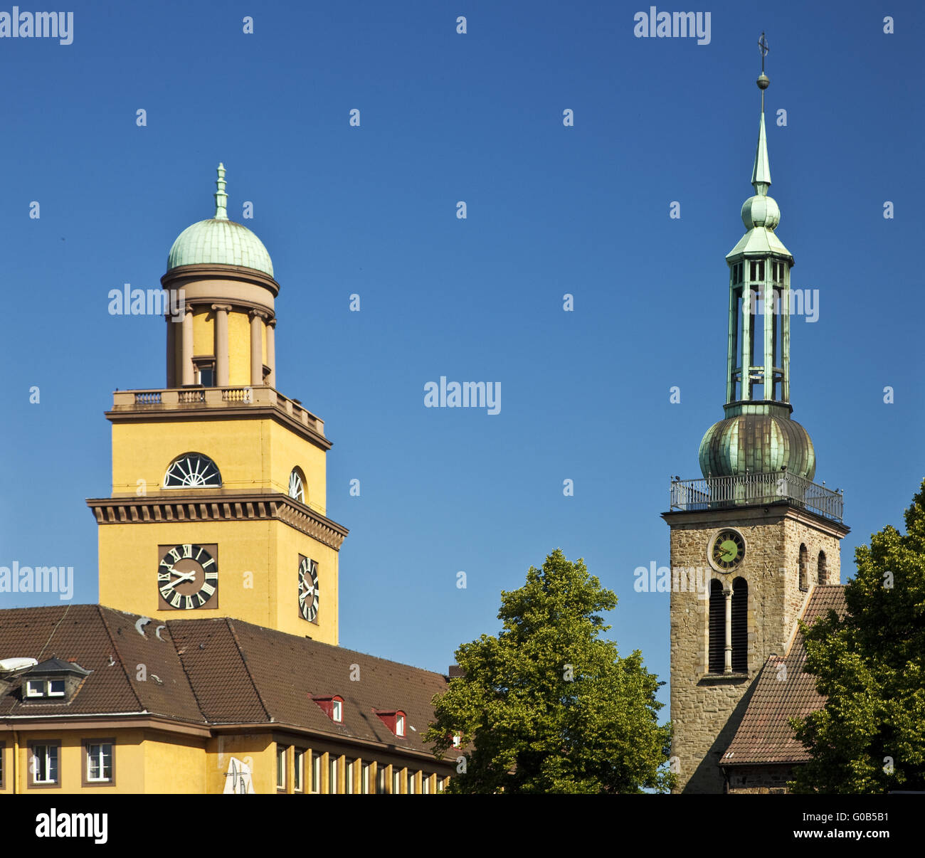 City Hall tower with St. John's Church, Witten - Stock Image