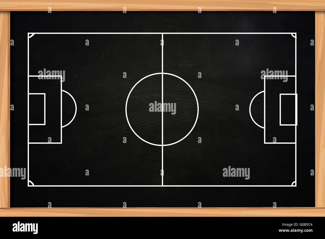 Chalk Board Drawing Of Empty Soccer Or Football Game Strategy Stock