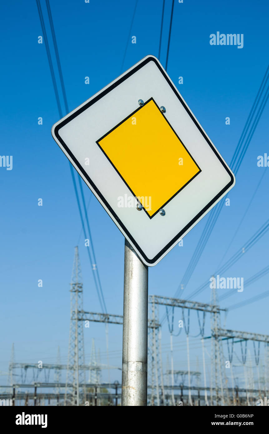 Relay Station with Yield Sign 4 - Stock Image