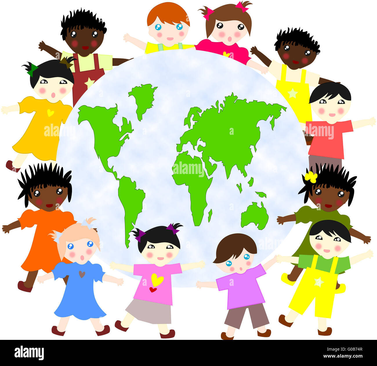 Children of different races around the map of our - Stock Image