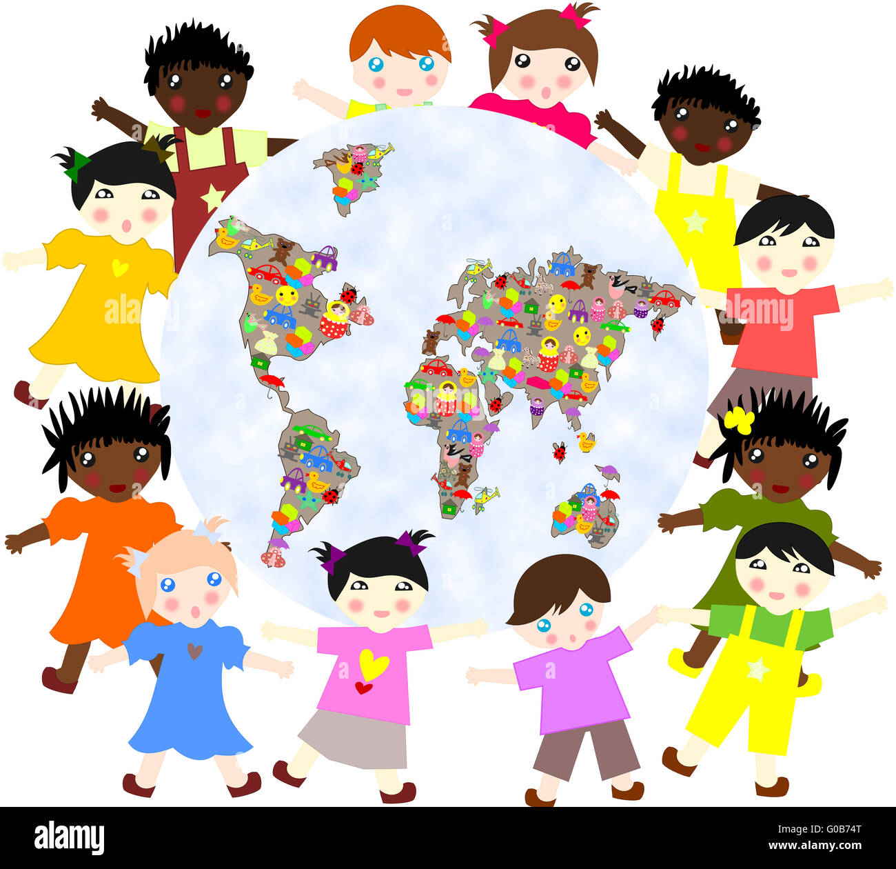Children of different around races  planet with to Stock Photo