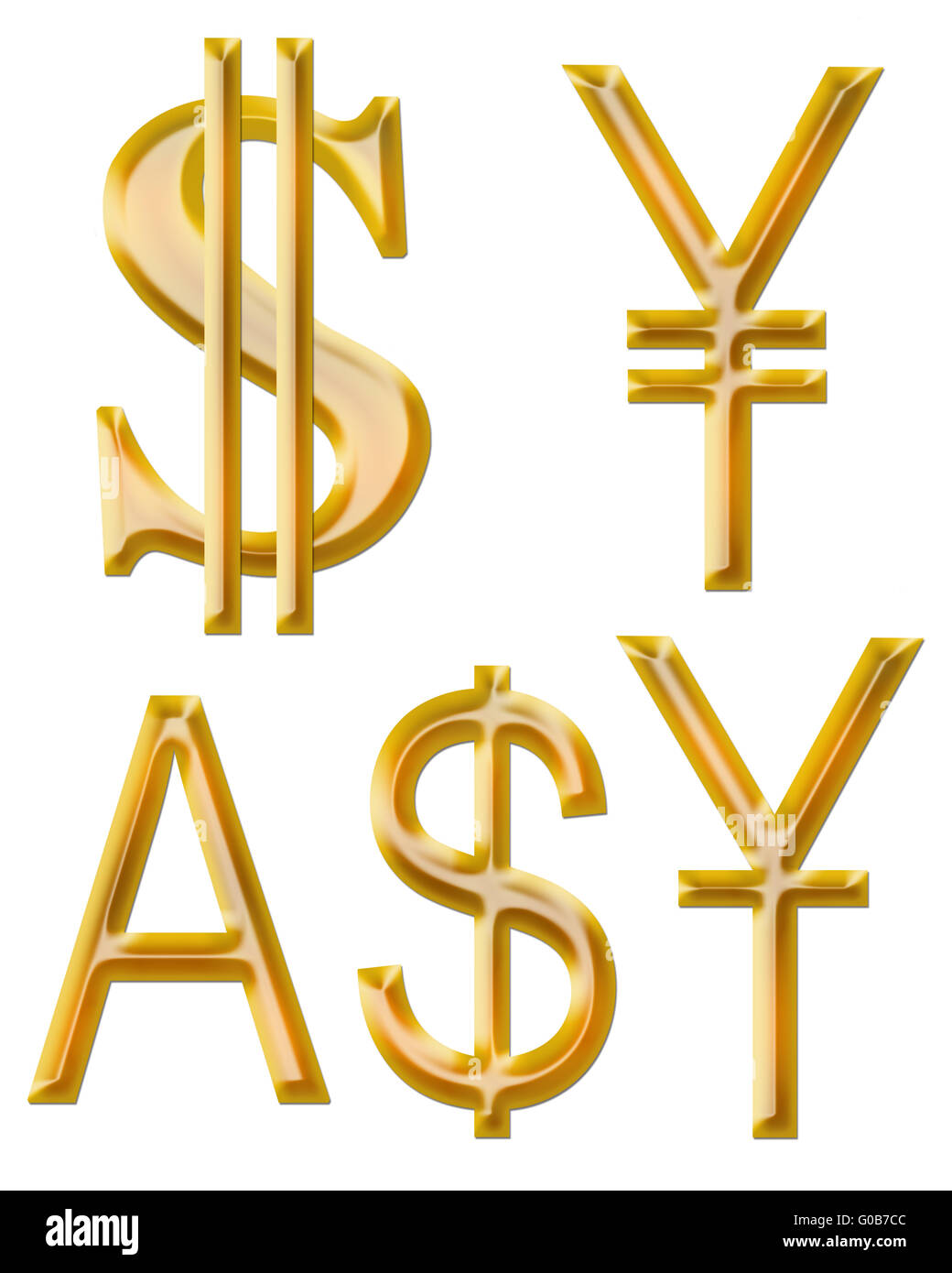 signs of currencies: yuan, dollar, yen and Austral - Stock Image