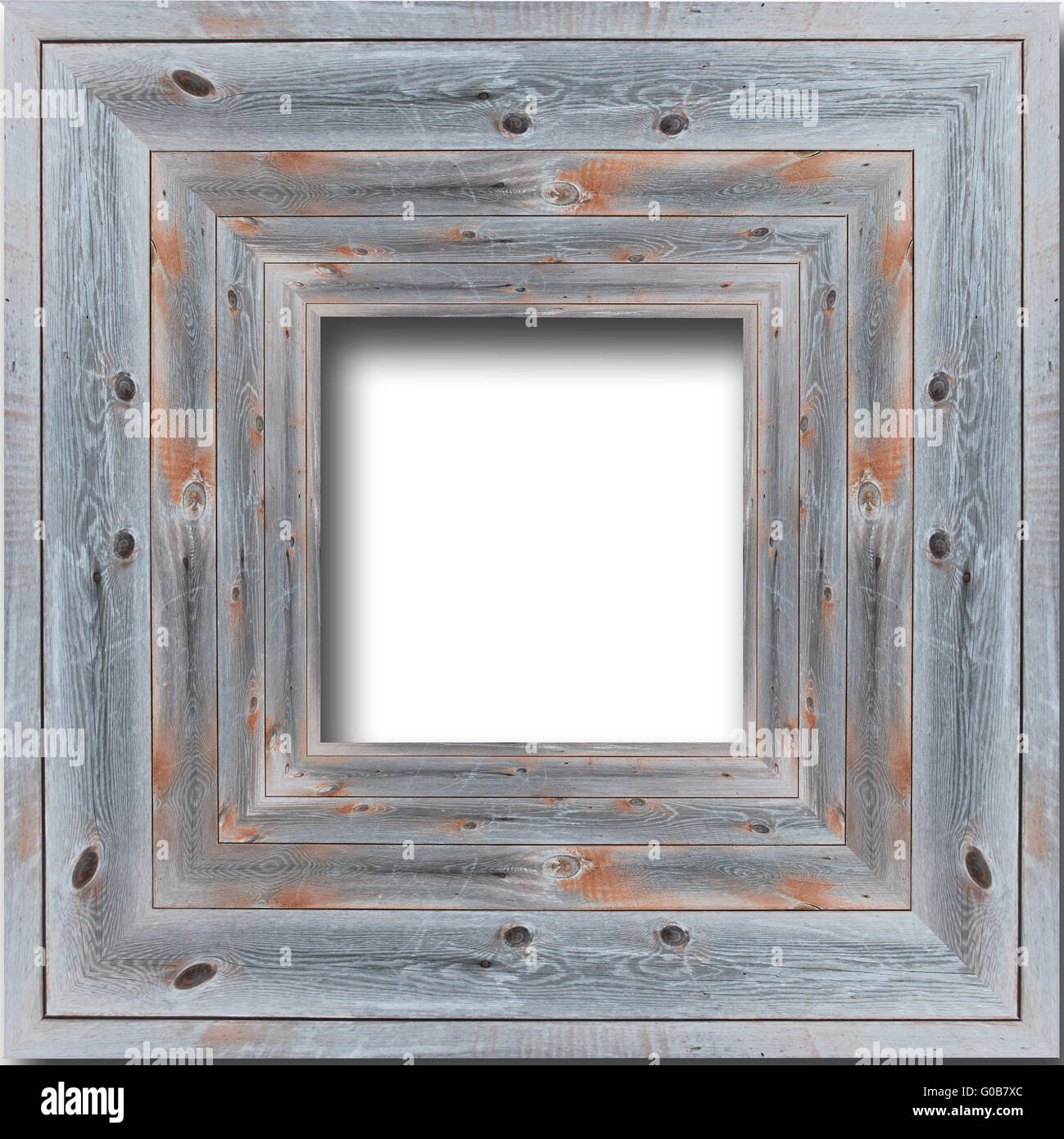 nice wooden frame isolated on the white background - Stock Image