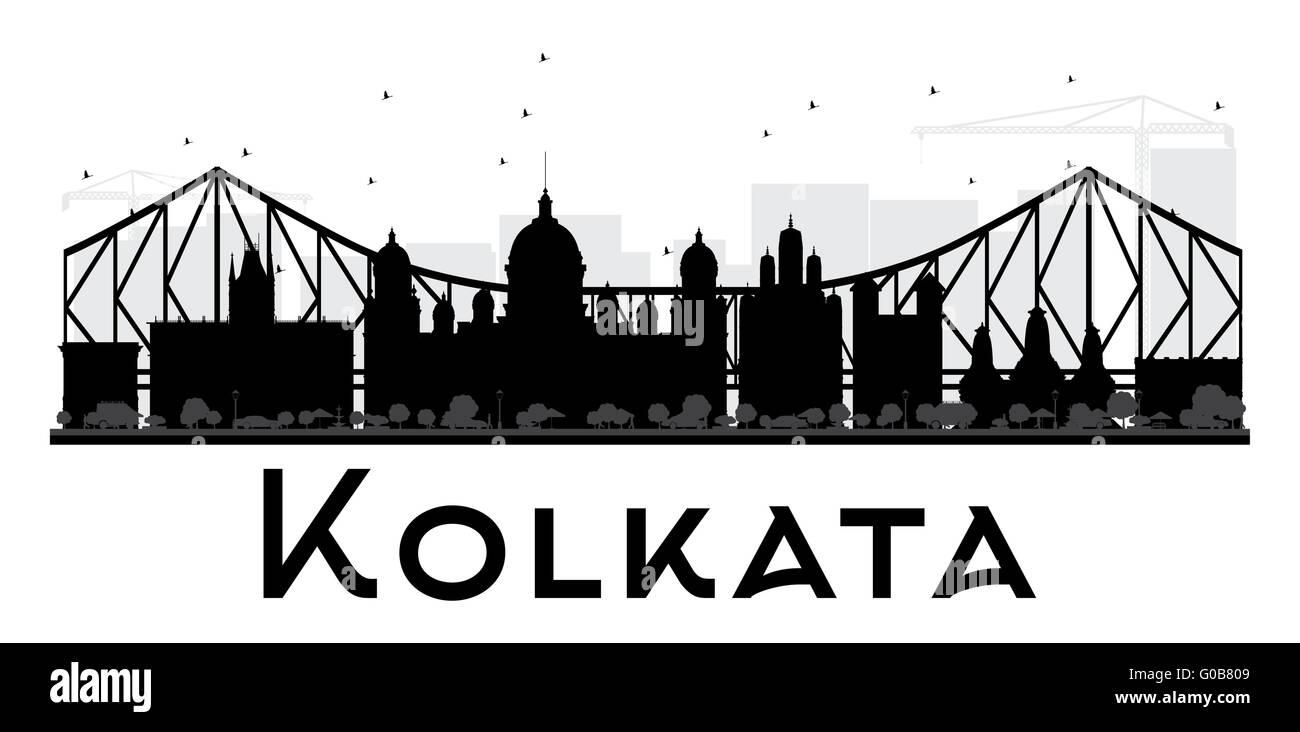 Kolkata City skyline black and white silhouette. Vector illustration. Simple flat concept for tourism presentation, - Stock Vector