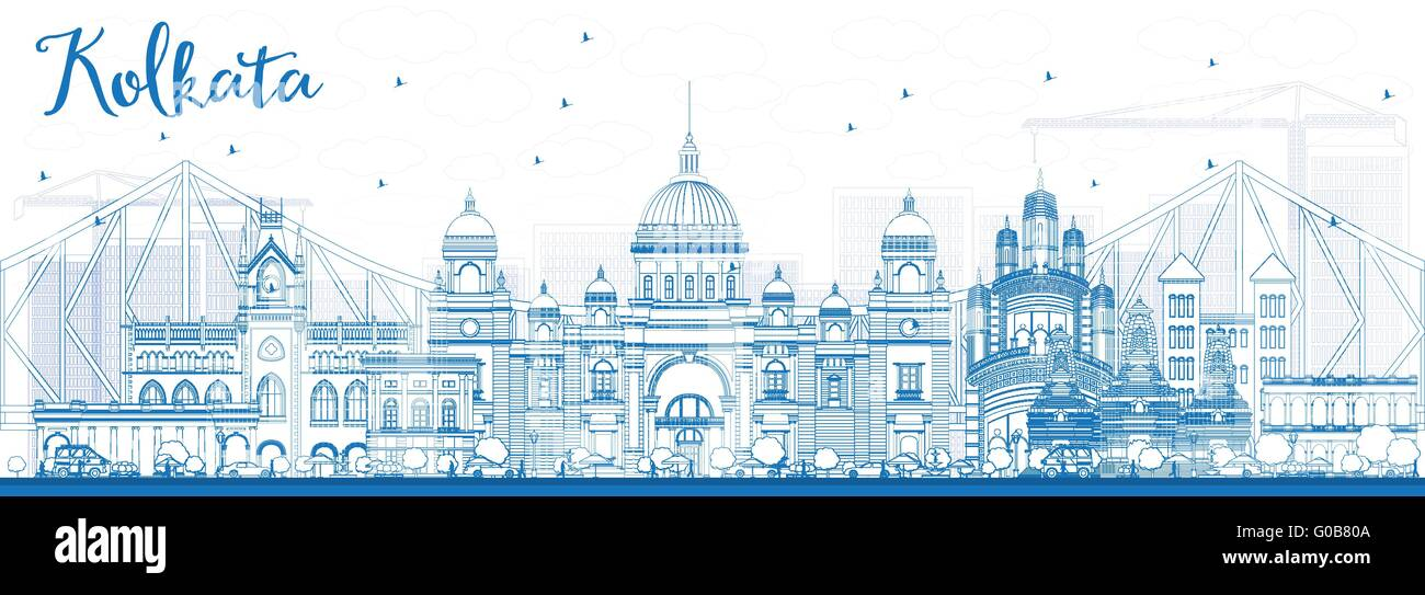 Outline Kolkata Skyline with Blue Landmarks. Vector Illustration. Business Travel and Tourism Concept with Historic - Stock Vector