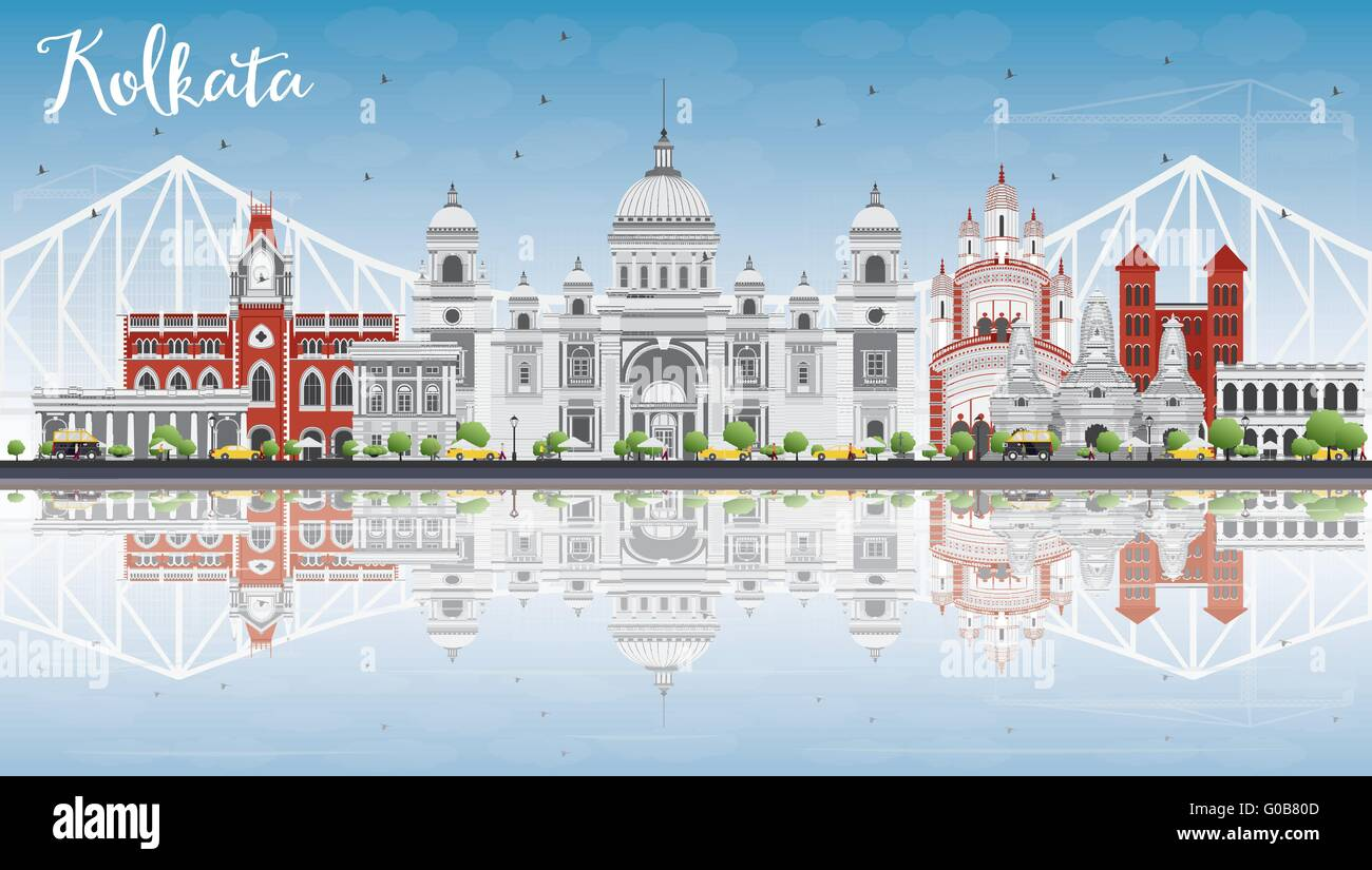 Kolkata Skyline with Gray Landmarks, Blue Sky and Reflections. Vector Illustration. Business Travel and Tourism - Stock Vector
