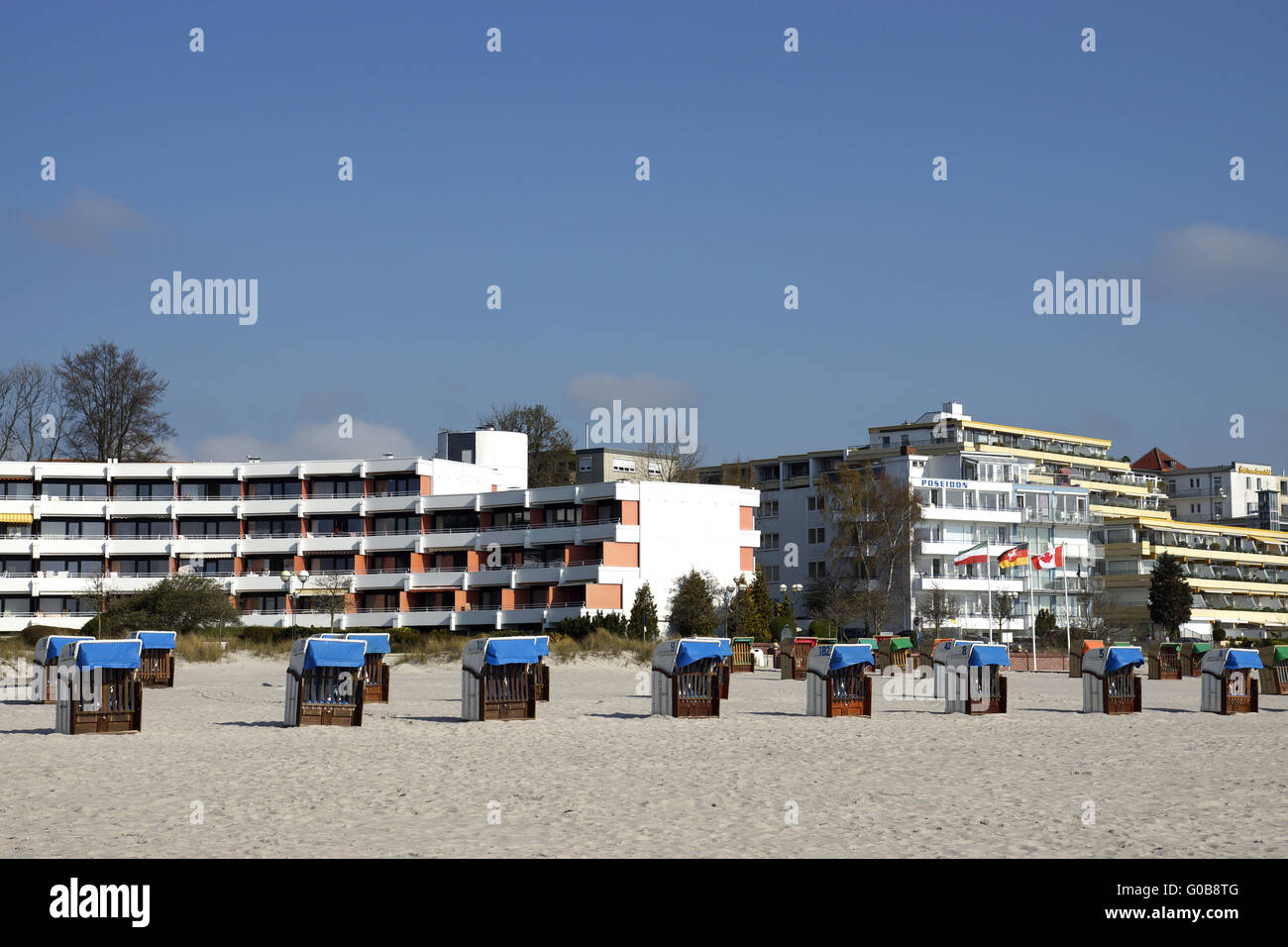 On the beach in Groemitz, Baltic Sea, Germany - Stock Image