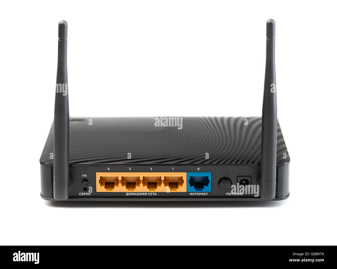 Wireless router for internet connections. The view from the rear side - Stock Image