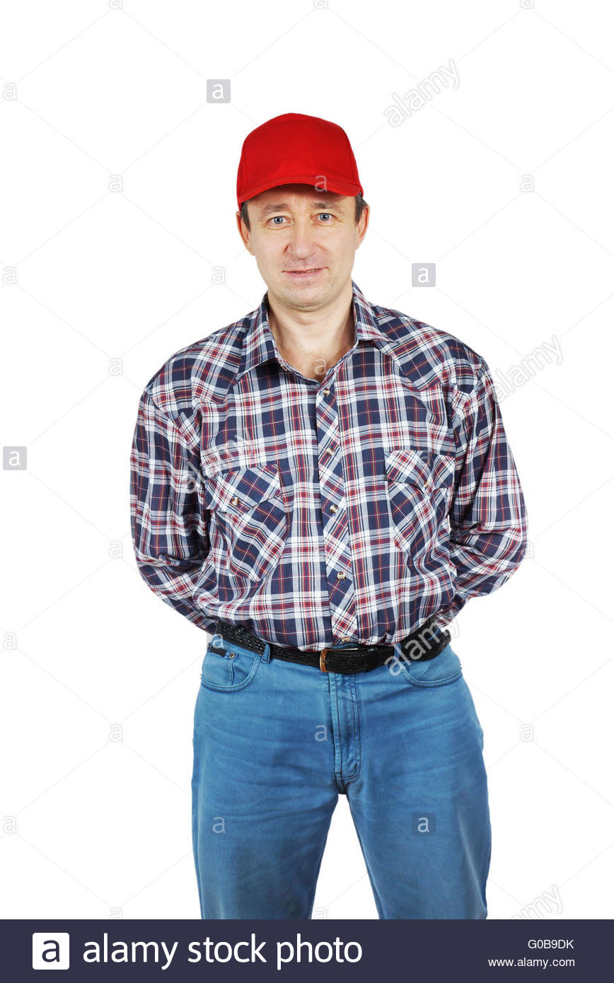 788a242f37 Adult man wearing jeans and a plaid shirt with red cap Stock Photo ...