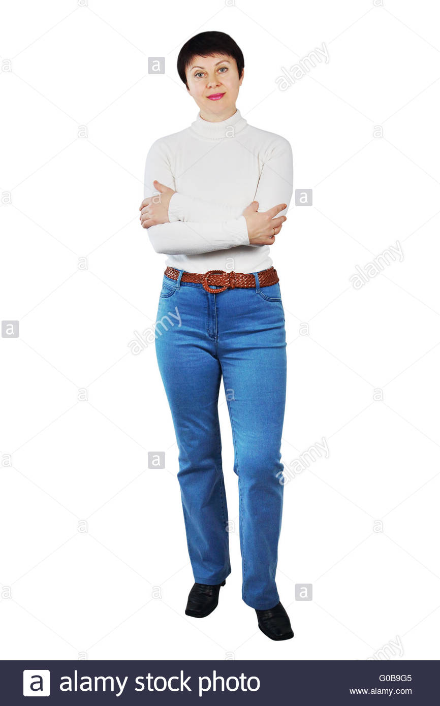 Pretty Woman Wearing Blue Jeans And White Turtleneck - Stock Image