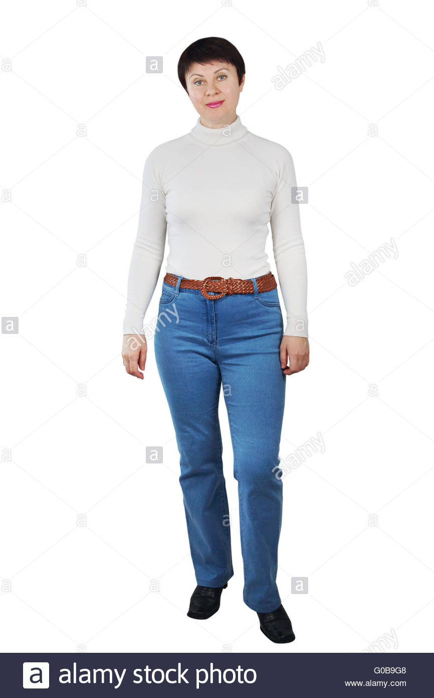 Shapely Woman Wearing Blue Jeans And White Turtleneck - Stock Image