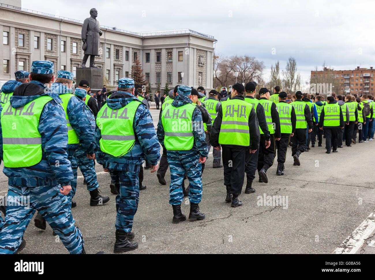 Platoon of russian helper police. Voluntary National Teams in uniform - Stock Image
