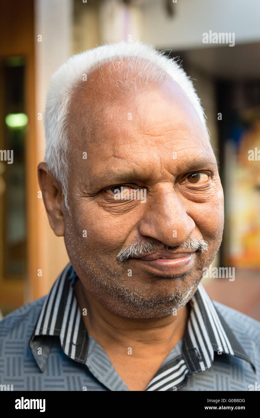 Portrait of Rajasthani man in old town Udaipur Stock Photo