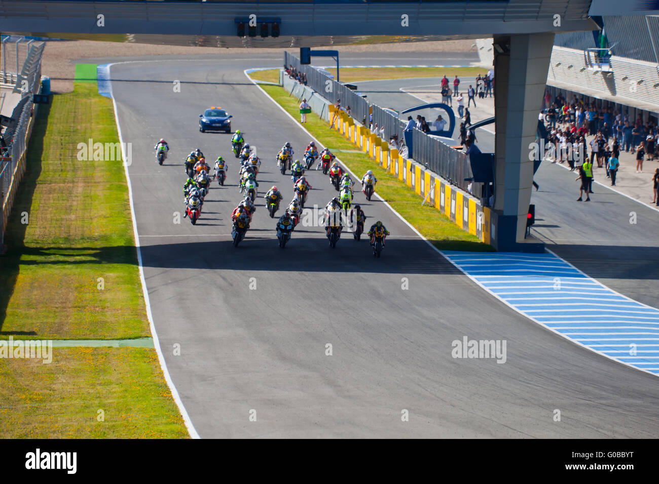 Begin of the race of Moto2 of the CEV Championship - Stock Image
