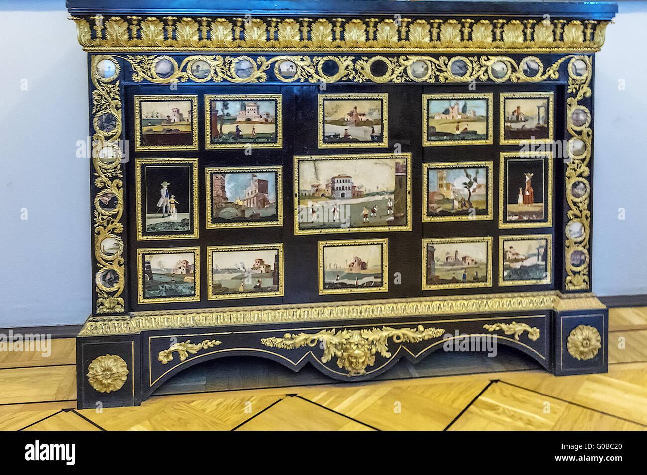 Ornate Cabinet Winter Palace St. Petersberg Russia - Stock Image