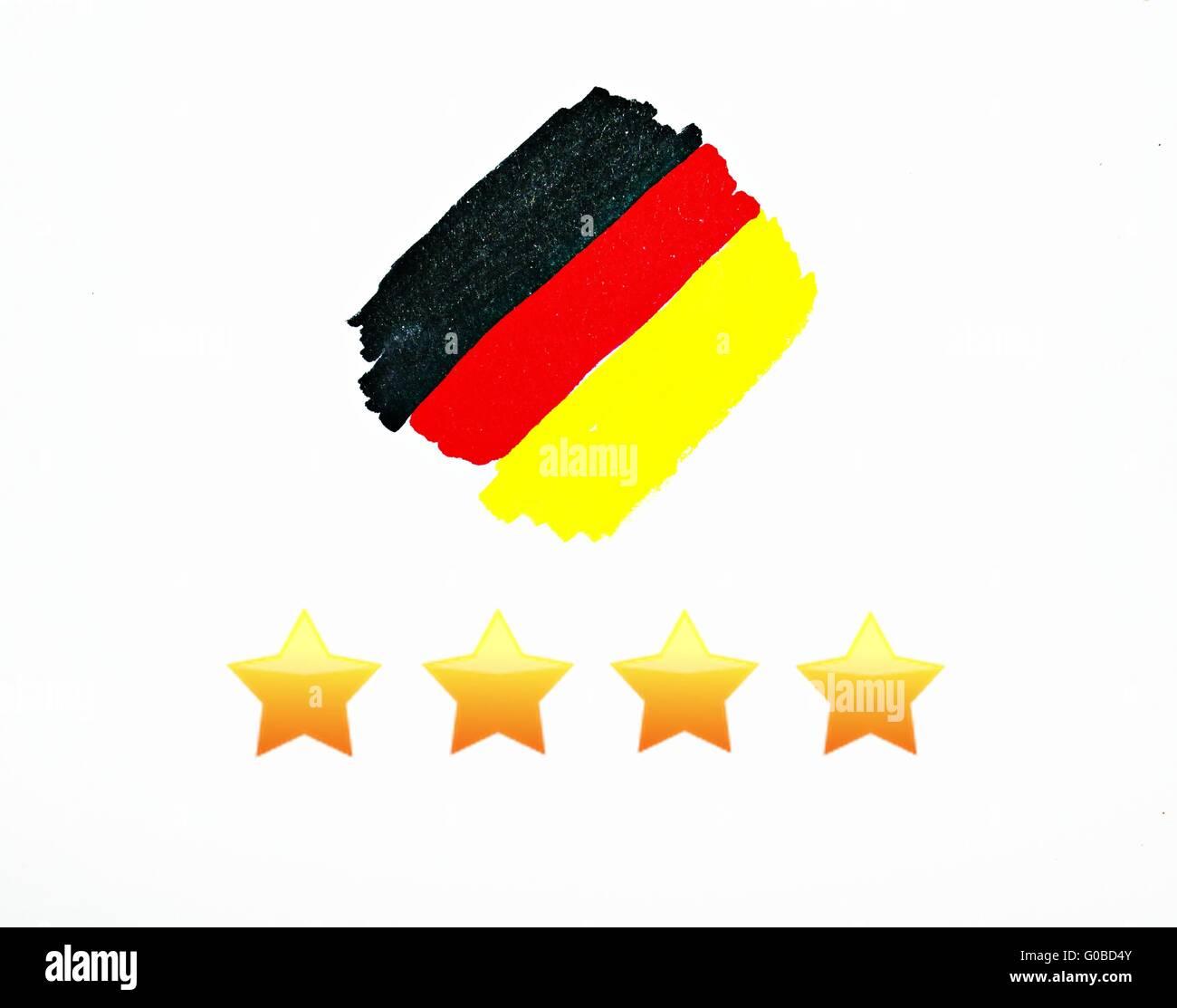 4 times football worldchampion germany - Stock Image