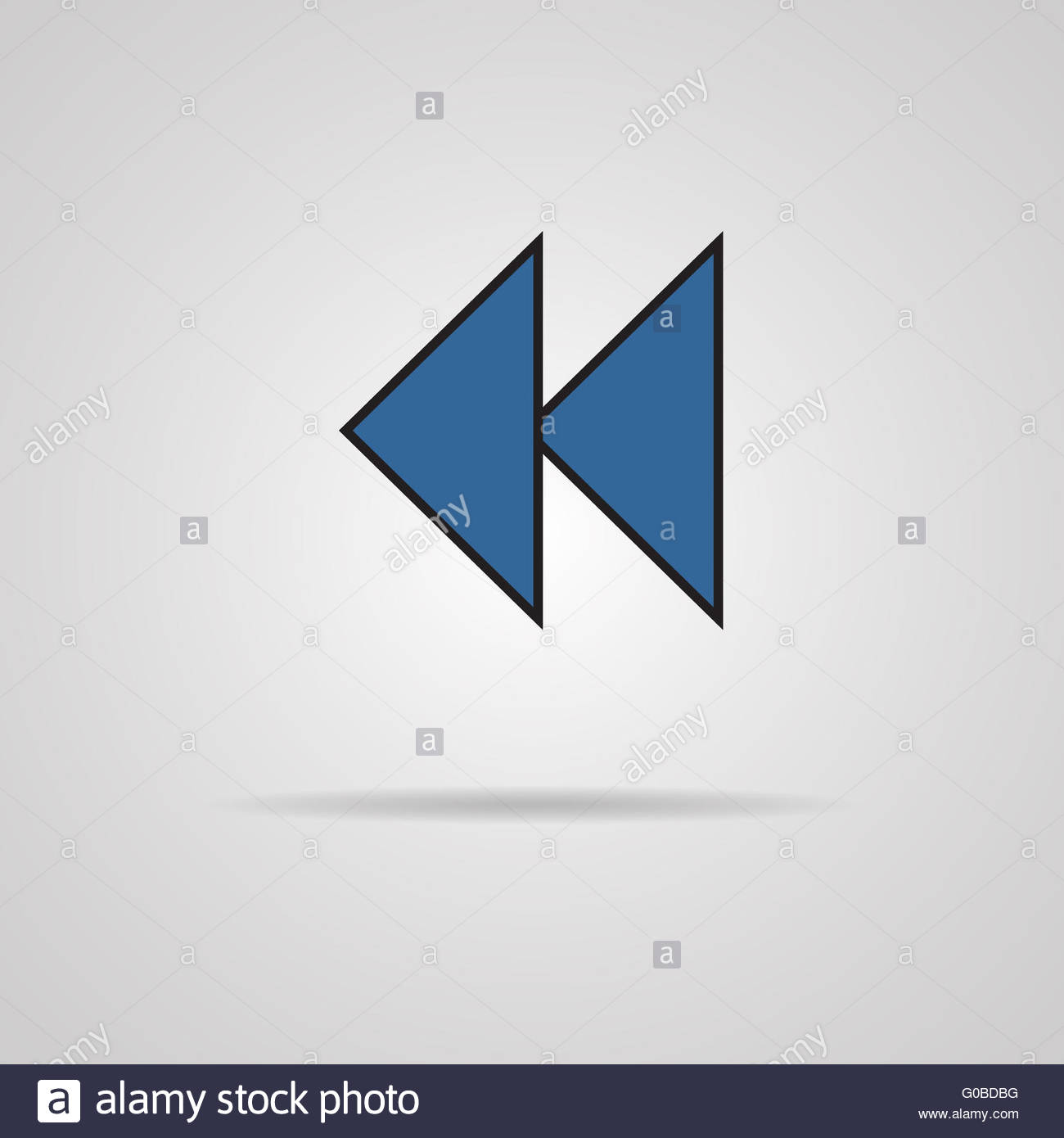 Reverse or rewind icon with shadow. Media player - Stock Image