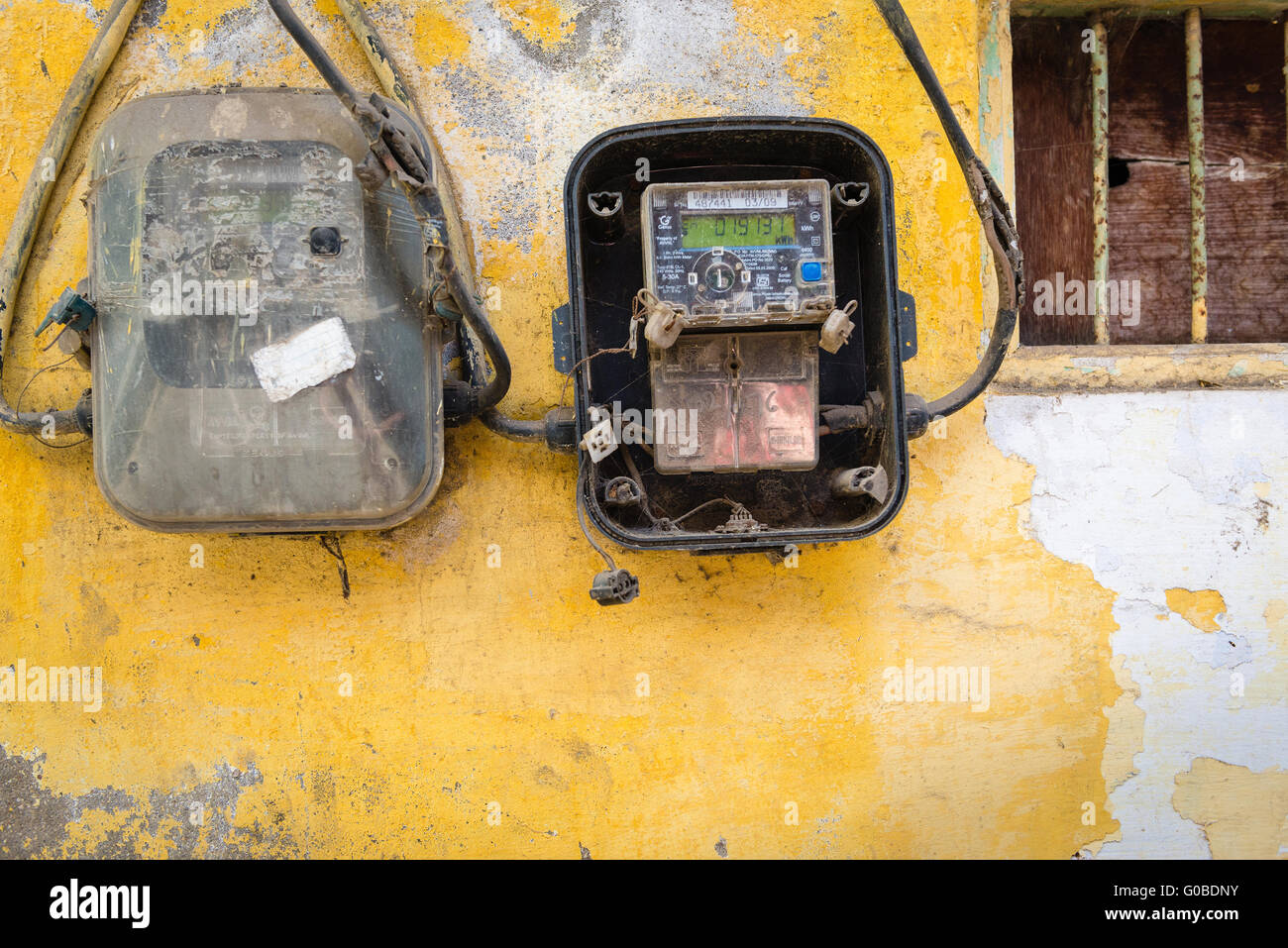 Electrical Wiring Detail Stock Photos Rewiring Old Doorbell In Town Udaipur Image