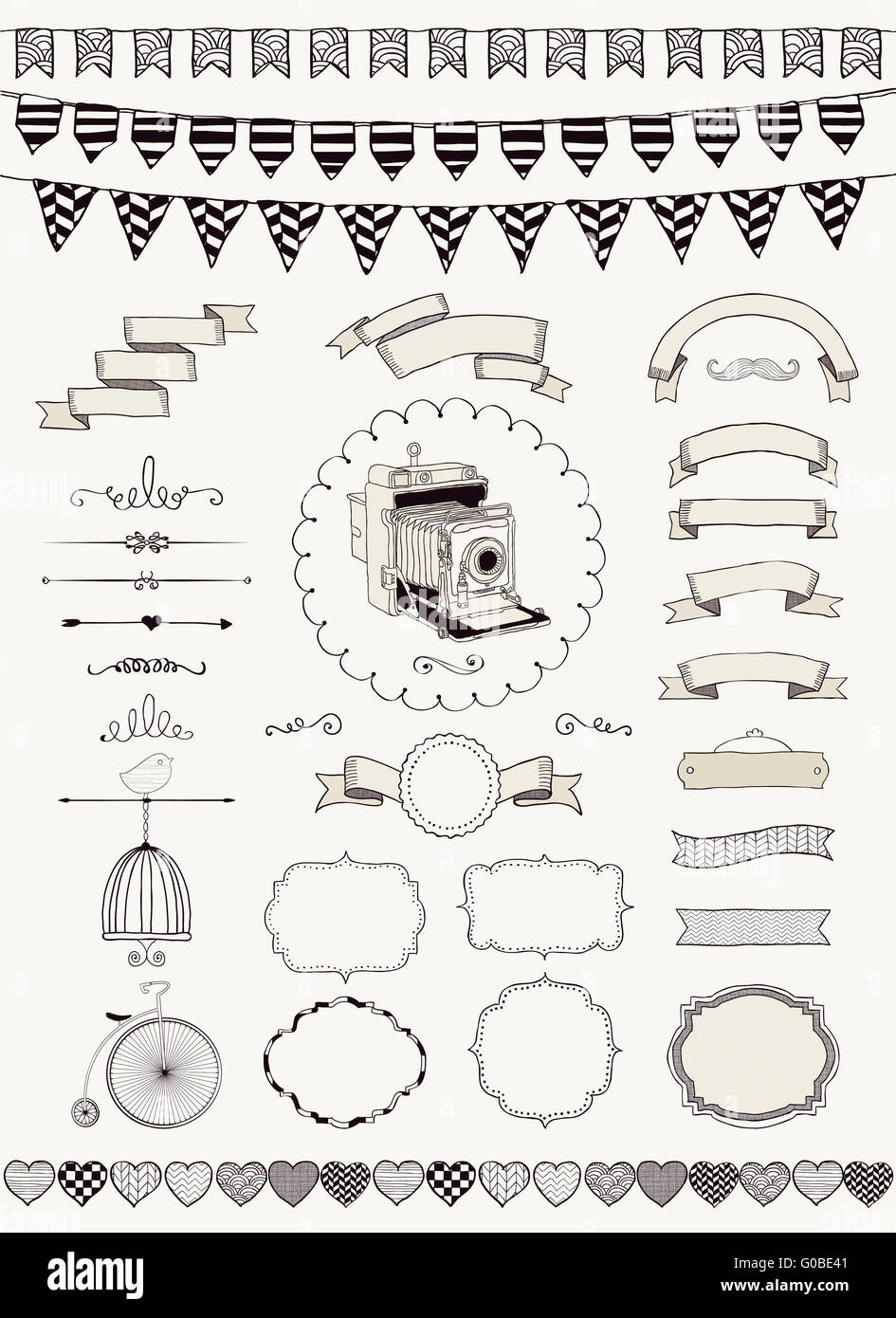 Vector Collection of  Banners, Ribbons and Frames - Stock Image