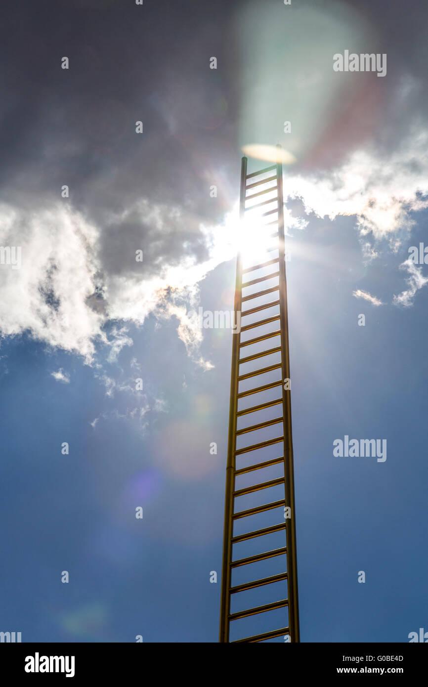 Artwork Golden ladder, 65-meter high installation in shopping center Forum, in downtown Duisburg, Germany - Stock Image