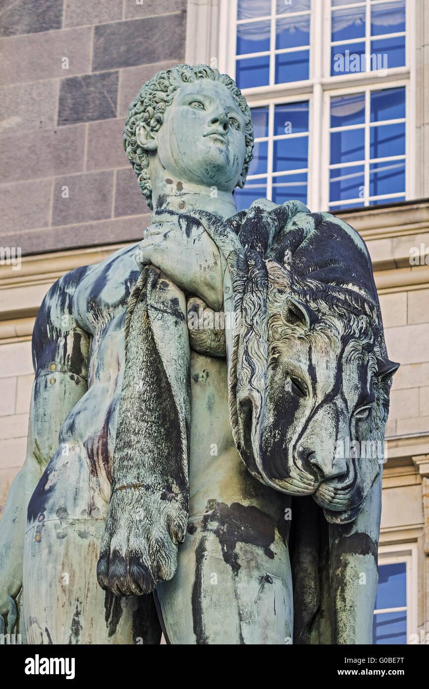Statue Of Hercules Christiansborg Palace Copenhage - Stock Image