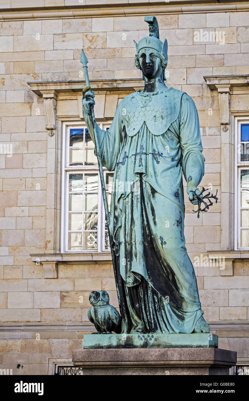 Statue Of Minerva Christiansborg Palace Copenhagen - Stock Image