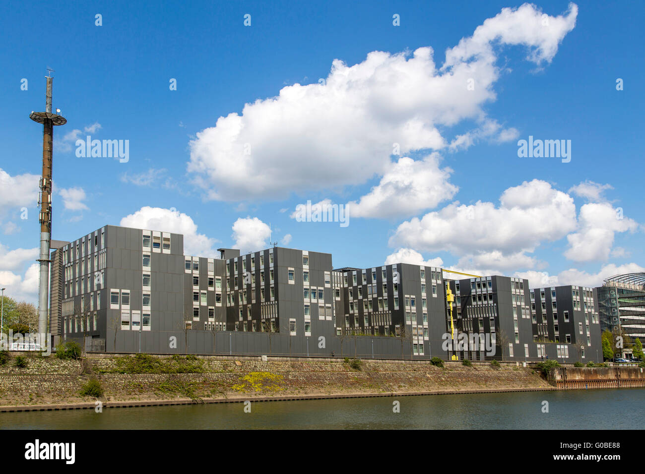 The Innenhafen, Inner Harbor Duisburg, was a central harbor at river Rhine, transformed in a cultural, office and - Stock Image
