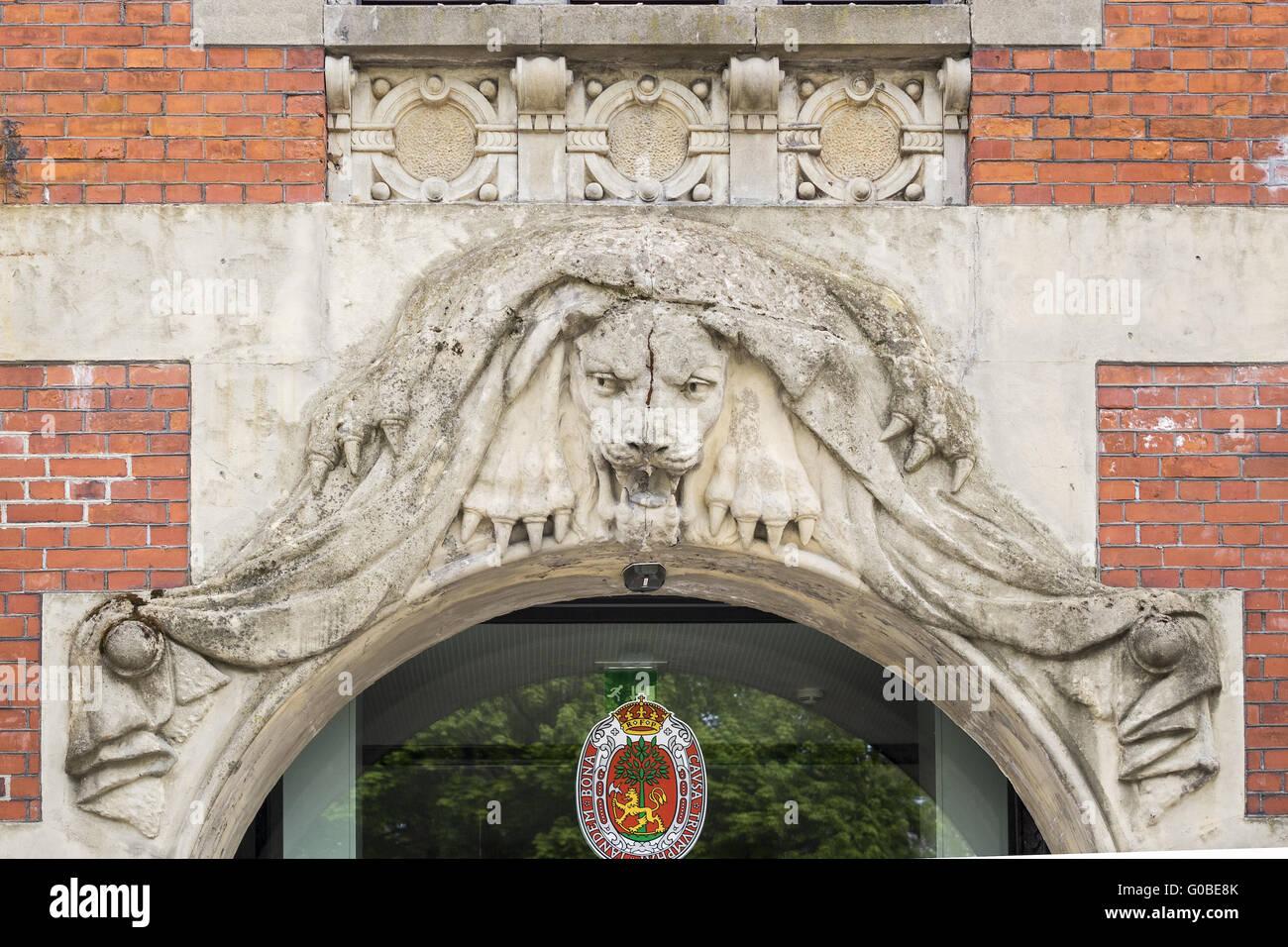 Lion Facade On Tourist Information Building Kristi - Stock Image