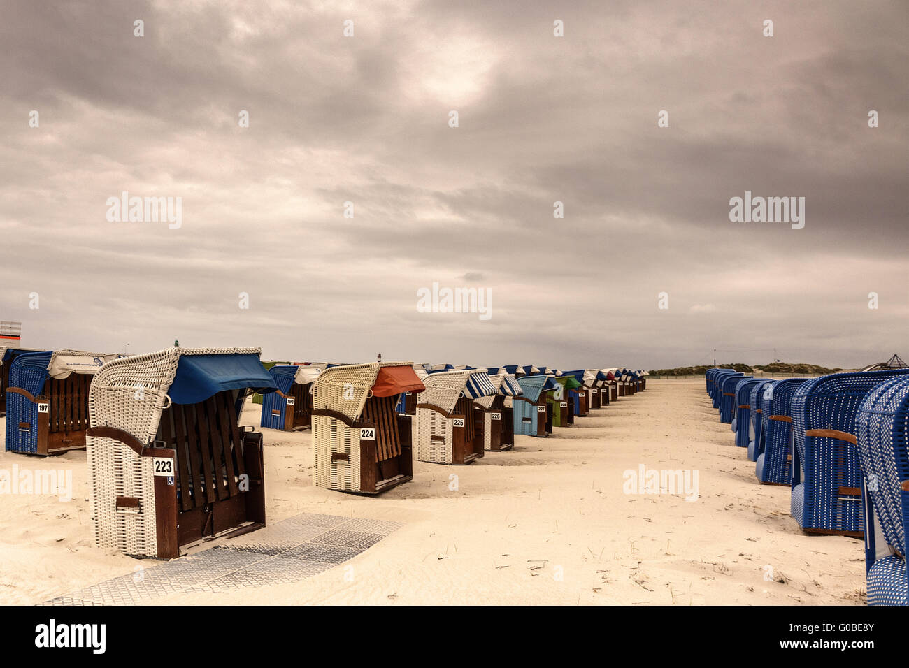 Deck Chairs On The Beach Wanemunde Style Germany - Stock Image