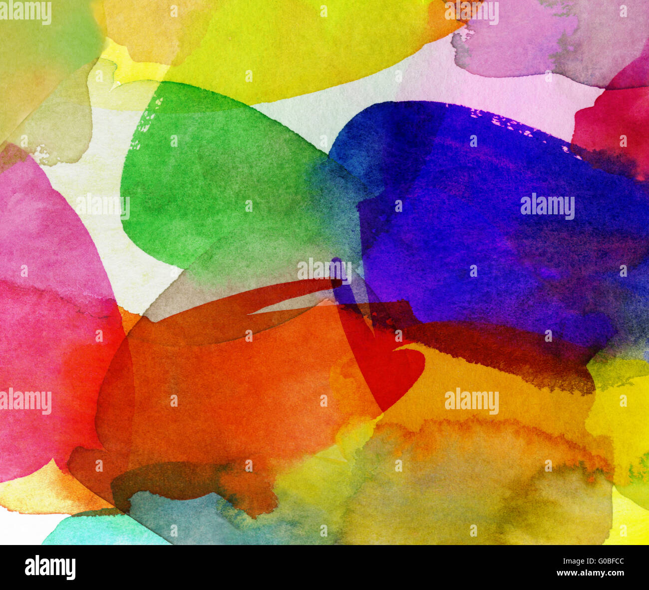 abstract multicolor watercolor - Stock Image