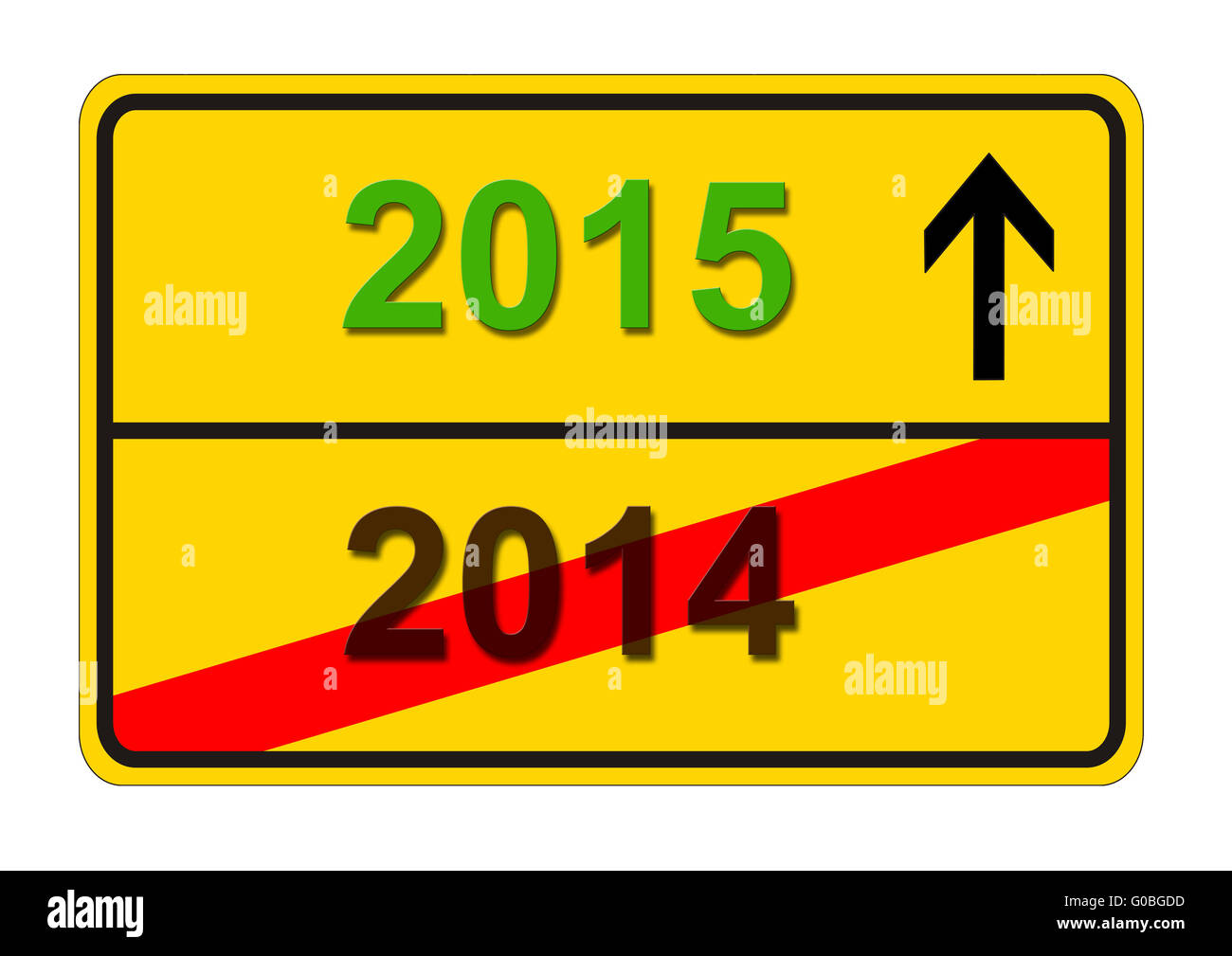 traffic sign shows change from year 2014 to 2015 - Stock Image