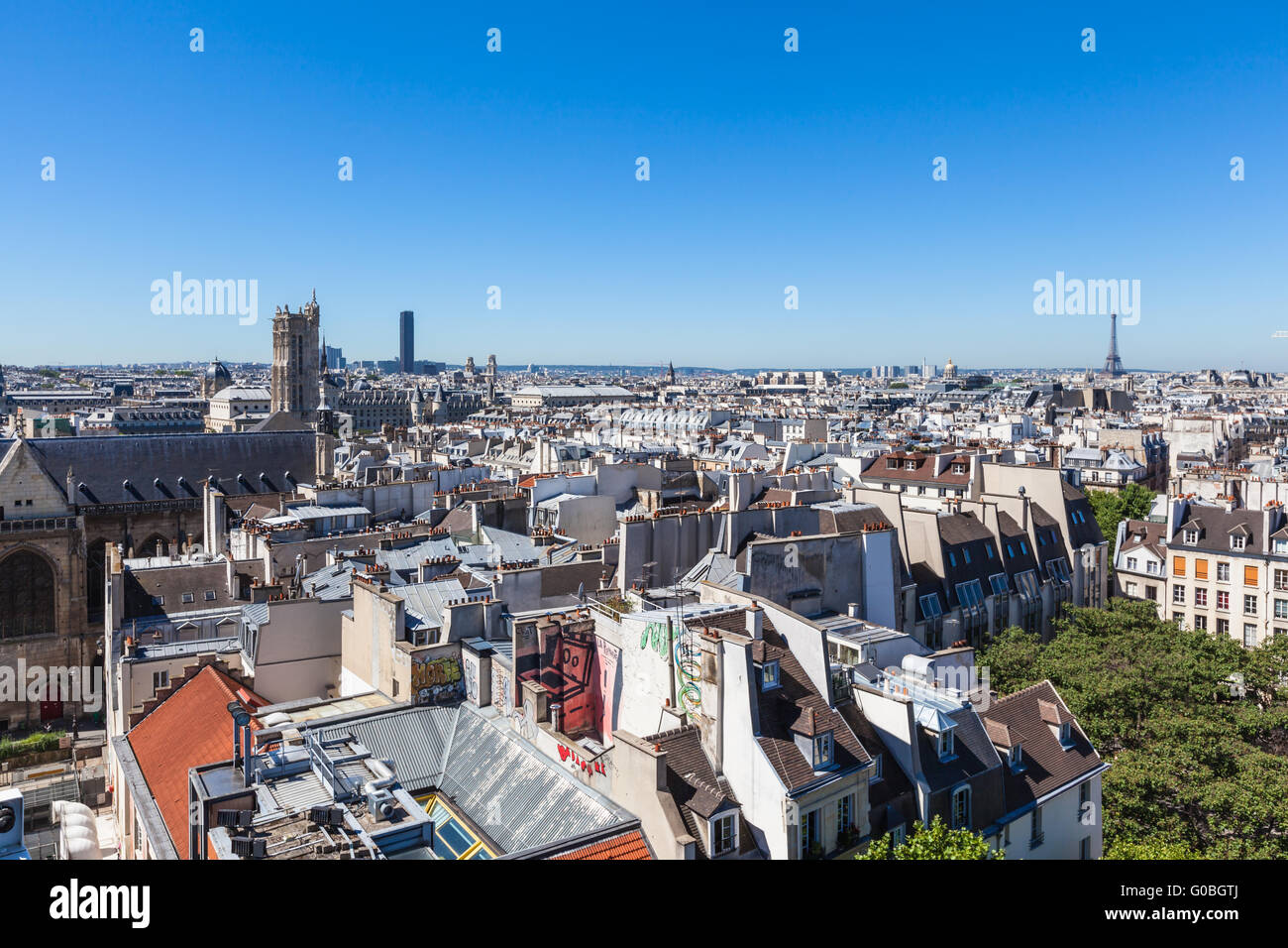Cityscape of Paris with view of many historical buildings including Eiffel Tower and Notre Dame in Paris, France Stock Photo