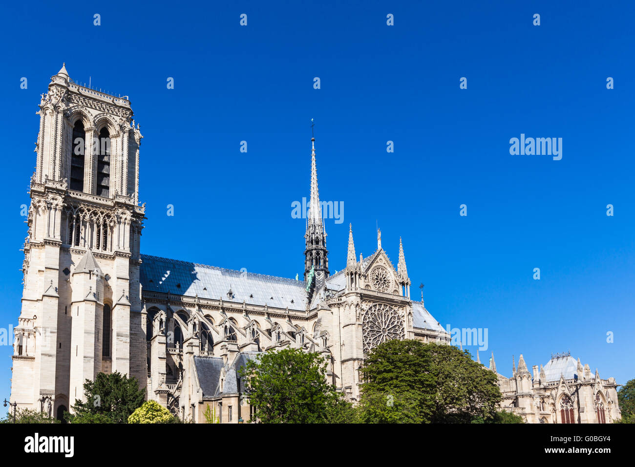 Notre Dame Cathedral onthe river side of Seine in Paris, France, which is widely considered to be one of the finest - Stock Image