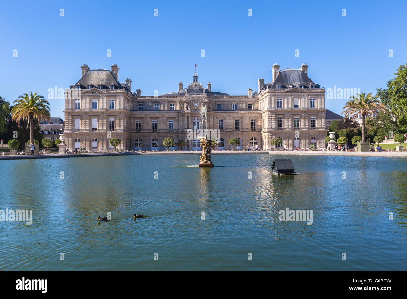 Luxembourg Palace in Jardin du Luxembourg, Paris, France - Stock Image