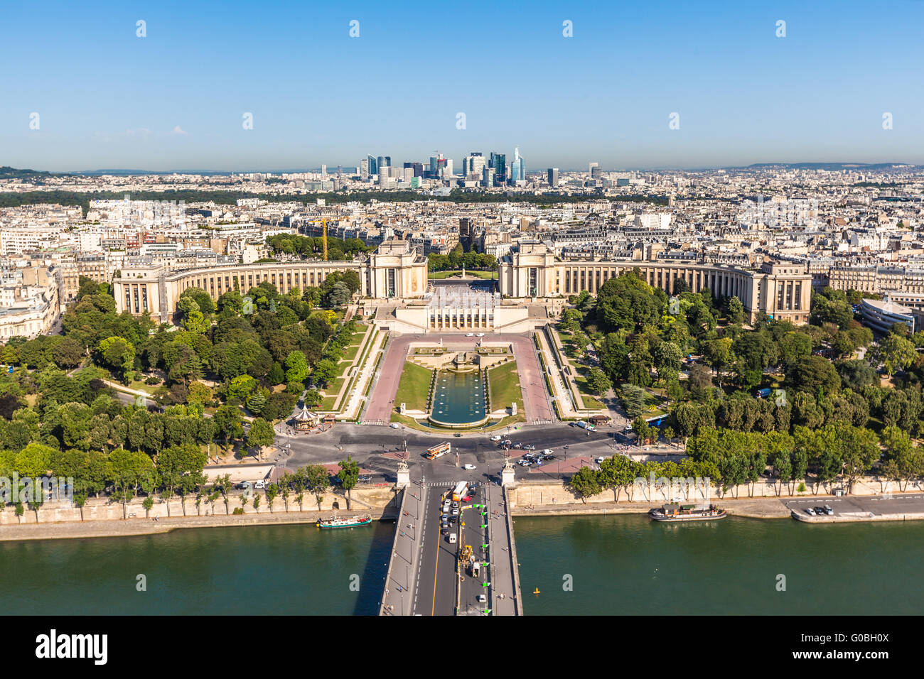 Top view to the Trocadero garden from Eiffel Tower in Paris, France Stock Photo