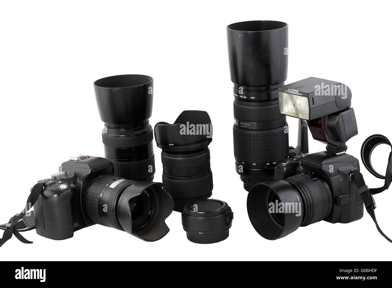 Black digital SLR cameras lens flash system - Stock Image