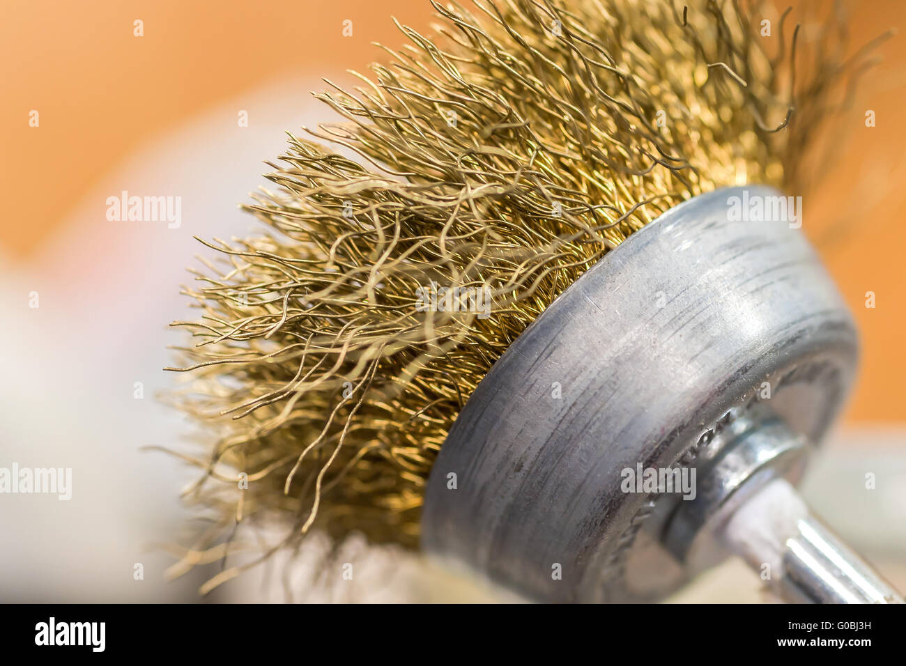 Close up of a grinding attachment of a drill - Stock Image