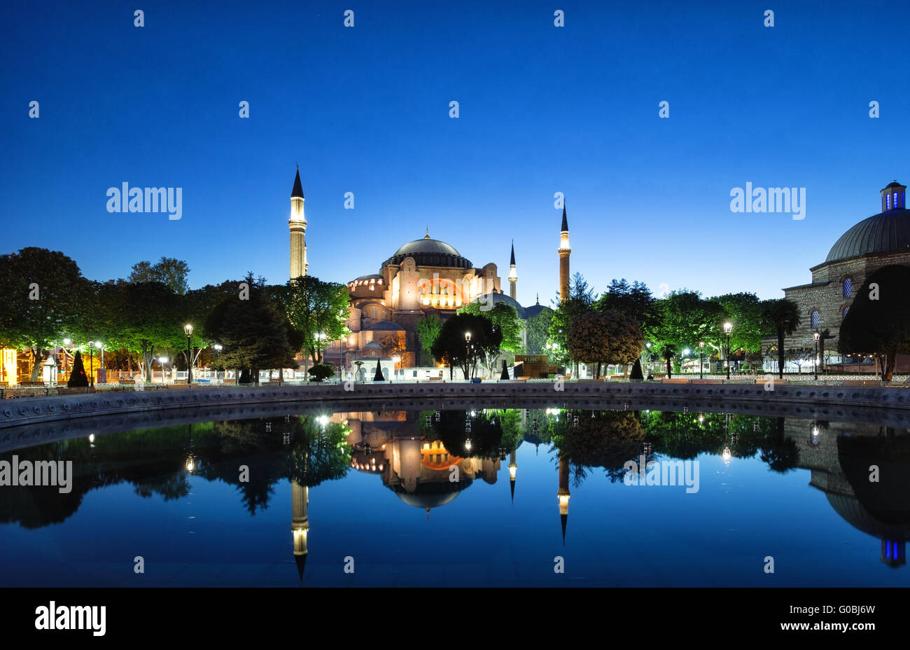 Hagia Sophia mosque with reflection. Istanbul, Turkey. - Stock Image
