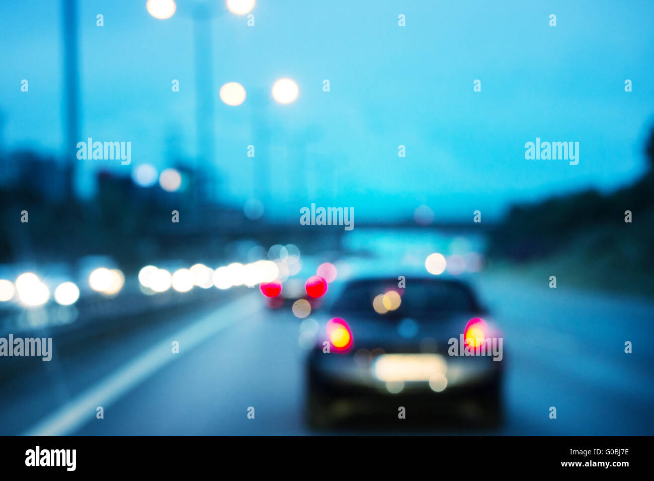Road with car shot with blurred focus - Stock Image