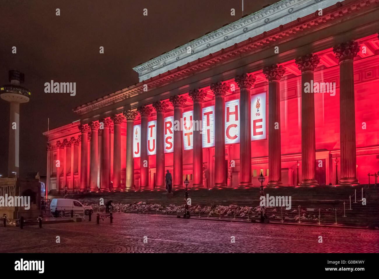 St. George's hall with banners marking the Hillsborough 96 inquest verdicts in Liverpool city centre. Merseyside. - Stock Image