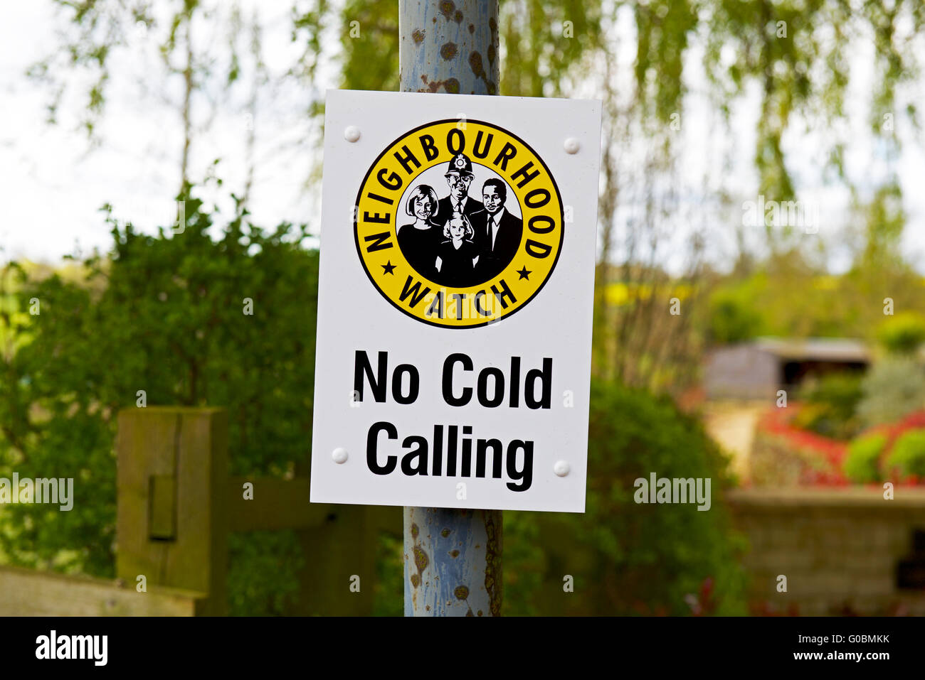 Neighbourhood Watch notice - no cold calling - in English village - Stock Image