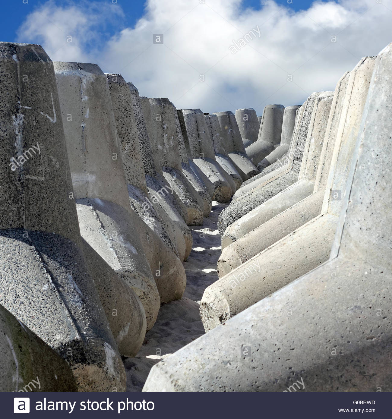 Stored Tetrapods for the coast protection on Sylt - Stock Image