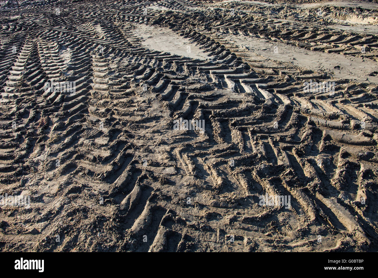 Wheel tracks on the ground - Stock Image