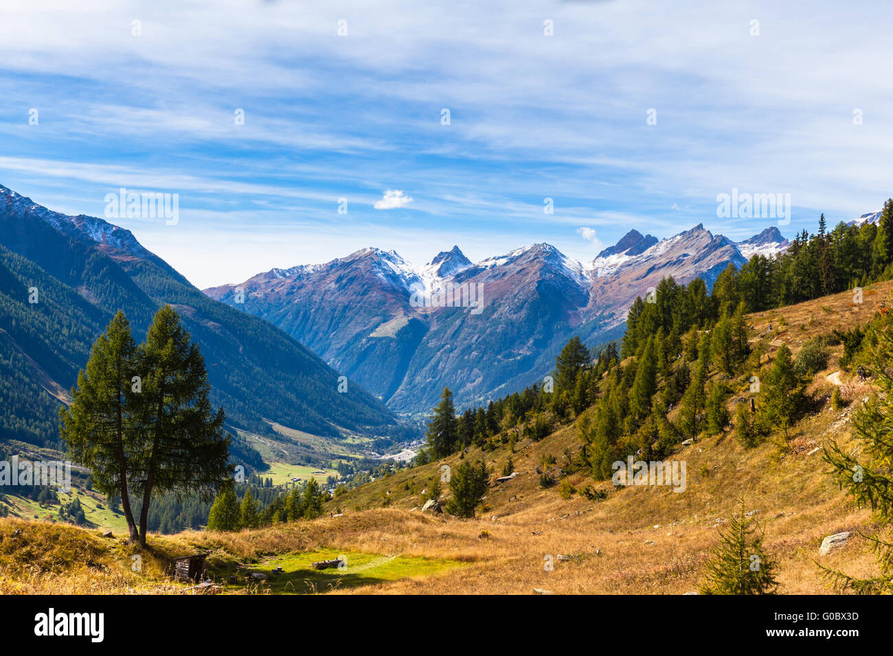 Panorama view of the Loetschental valley and the mountain range of alps in canton of Valais from the hiking path - Stock Image