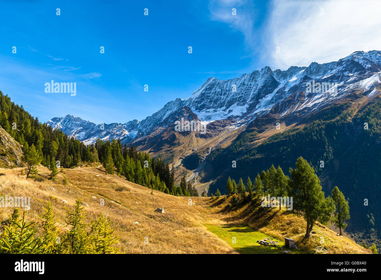 Stunning view of the Bietschhorn Breithorn and mountain range of alps in canton of Valais from the hiking path above - Stock Image
