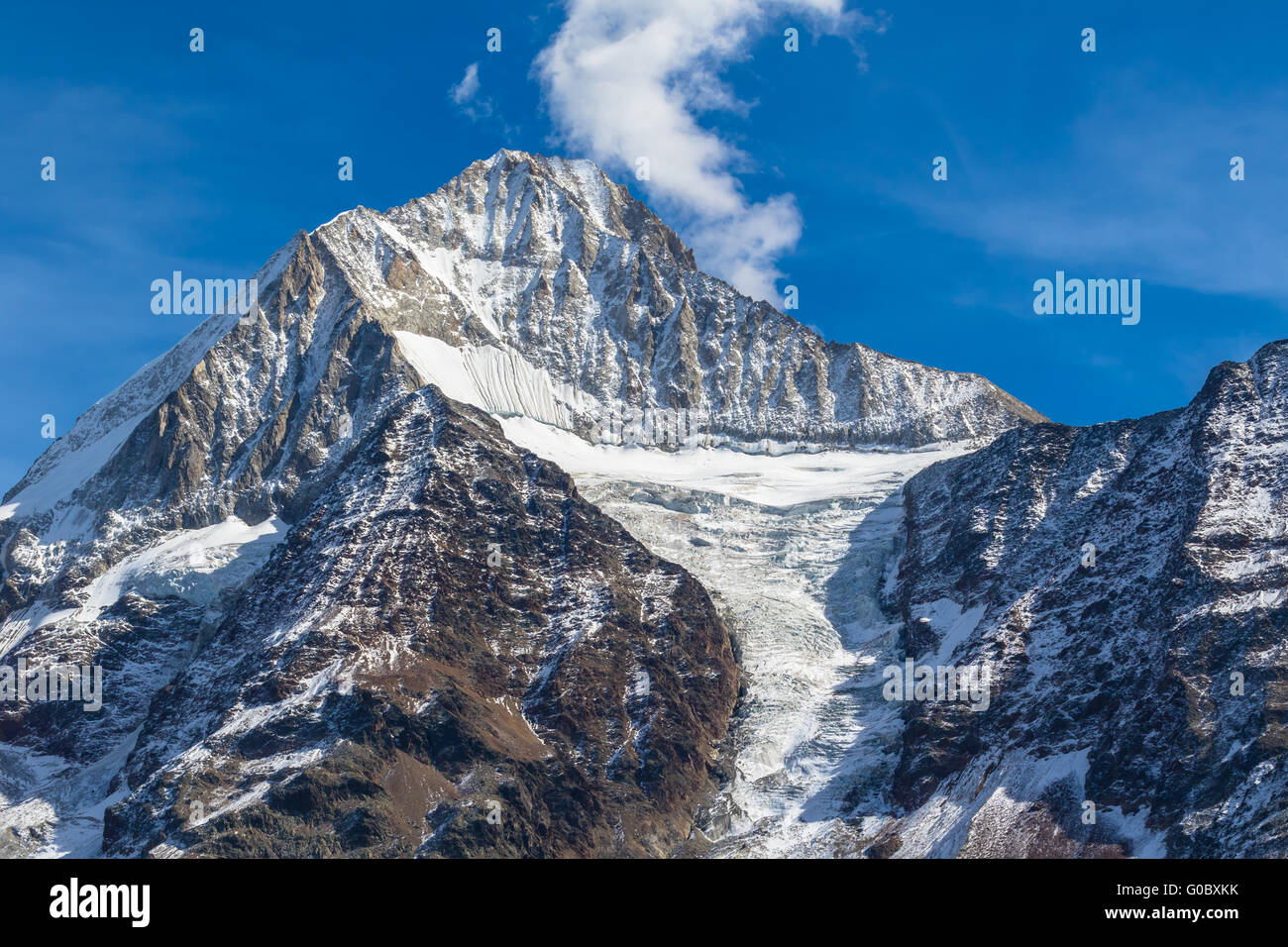 Close view of Bietschhorn in canton Wallis to the south of the Bernese Alps in Switzerland. its northeast and southern - Stock Image