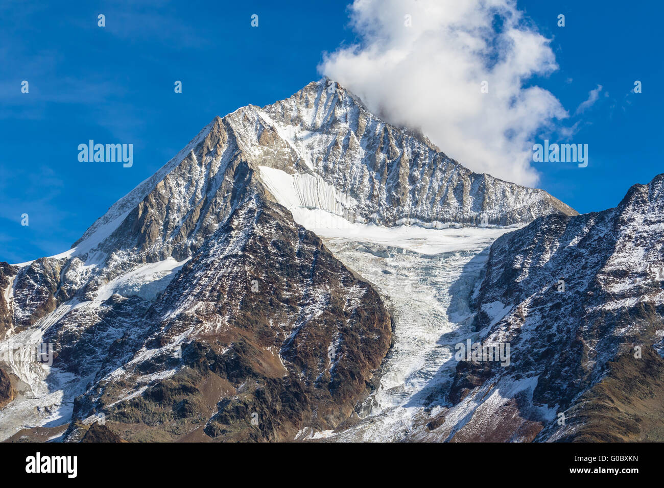 Close view of Bietschhorn in canton Wallis to the south of the Bernese Alps in Switzerland. its northeast and southern Stock Photo