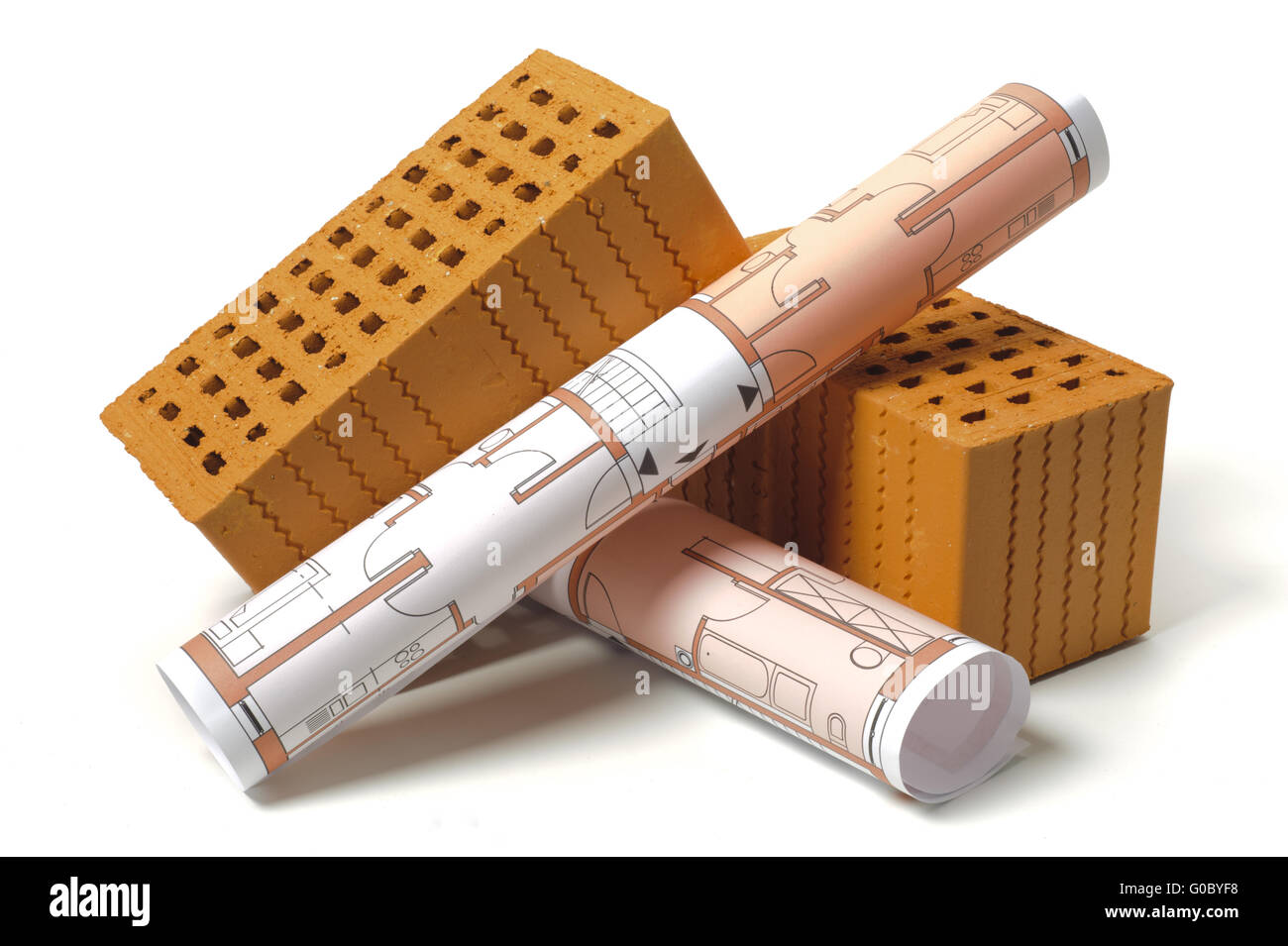 house construction with plan and brick - Stock Image